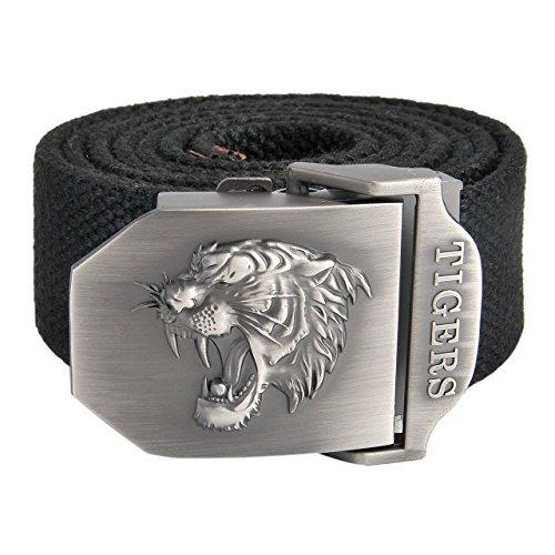 Faletony Herren Militär Gürtel Stoffgürtel mit Tiger kopf Schnalle Leinwand Canvas Jeansgürtel Belts 140cm + Original Geschenkbox