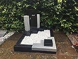 ABC Urnengrab Grabstein Whiscount White/Black Urnengrabstein Grabmal Granit Grabanlage Grabmal Grabsäulen mit Grabumrandung 80cm x 80cm inklusive Gravur
