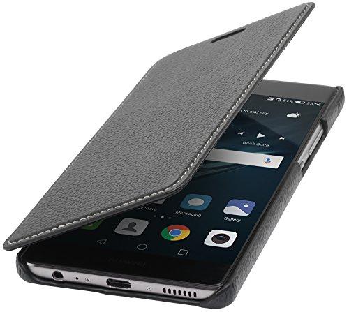 StilGut Book Type Case, Hülle Leder-Tasche für Huawei P9 Plus. Seitlich klappbares Flip-Case aus Echtleder für das Original Huawei P9 Plus, Schwarz