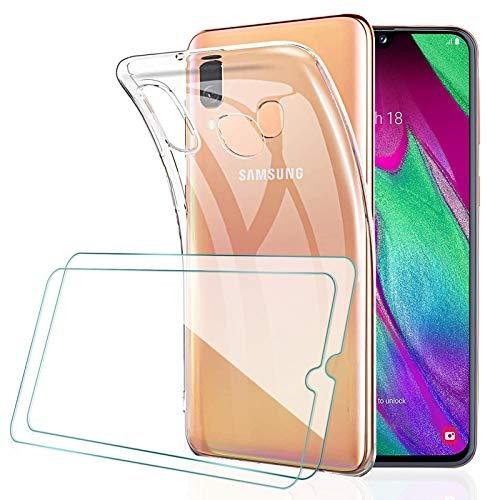 [2 Pack] KEEPXYZ Protector Pantalla para Samsung Galaxy A40 Cristal Templado + Funda para Samsung Galaxy A40 Silicona Transparente, Suave TPU Case Carcasa + Vidrio Templado para Samsung Galaxy A40