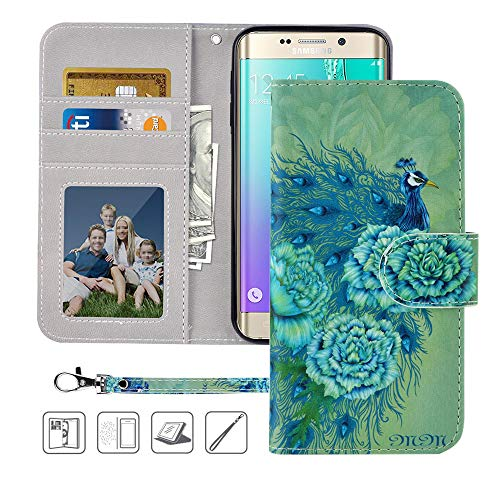 MagicSky Galaxy S6 Wallet Case, Galaxy S6 Case, Premium PU Leather Flip Folio Case Cover with Wrist Strap,Card Holder, Cash Pocket, Kickstand for Samsung Galaxy S6 (Green Peacock)