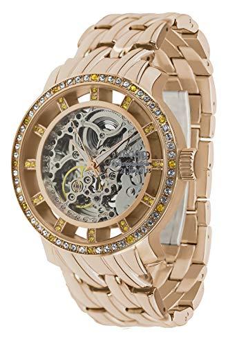 Moog Paris Chameleon Damen Automatische Uhr mit Skelett Zifferblatt, Swarovski Elements & Rosegoldenem Armband aus Edelstahl - M44694-003