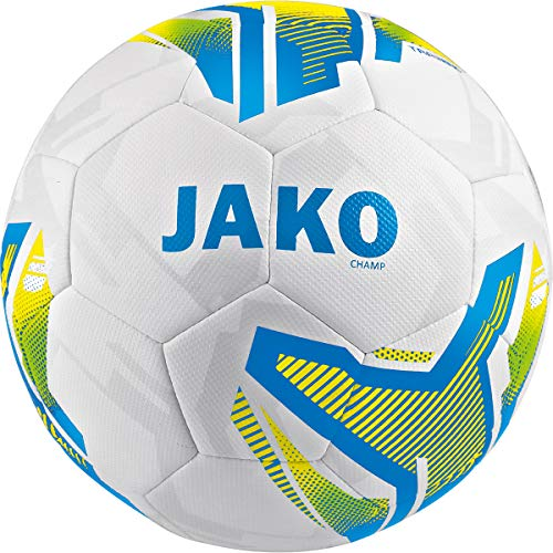 JAKO Unisex– Erwachsene Hybrid Champ Fußbälle, weiß/blau/Neongelb, 4