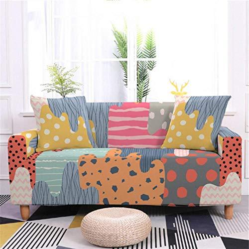 Funda de sofá de 2 Plazas Funda Elástica para Sofá Poliéster Suave Sofá Funda sofá Antideslizante Protector Cubierta de Muebles Elástica Patrón de Graffiti Colorido Funda de sofá