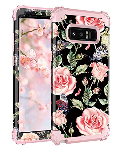 Hekodonk Compatible Samsung Galaxy Note 8 Case, Shockproof Premium Anti-Scratch Hybrid Dual Layer TPU Gel Silicone Bumper Hard PC Protective Cover for Samsung Galaxy Note 8 (Vintage Rose/Pink)