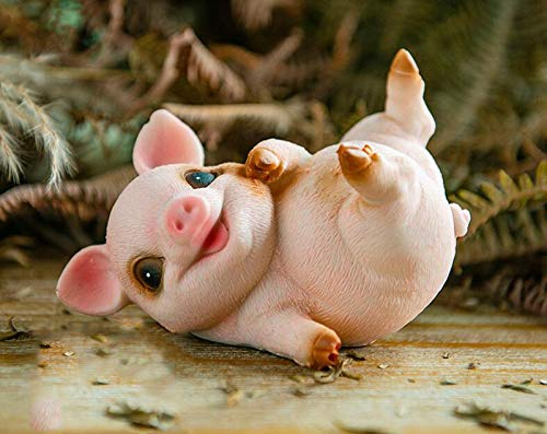 starbluegarden Amusing Mini Jubilant Pig Statue Figurine Ornament Fairy Garden Decor Bookshelf Flowerpot Collection (3#)