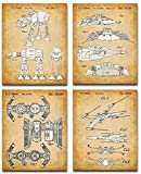 Original Star Wars Vehicles Patent Art Prints - Set of Four Photos (8x10) Unframed - Makes a Great Man Cave Decor and Gift Under $20 for Star Wars Fans