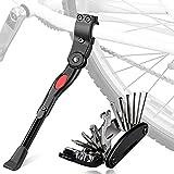 Oziral Pata de Cabra de Bicicleta con Herramienta Multifunción, Universal Ajustable Bicicleta Kickstand