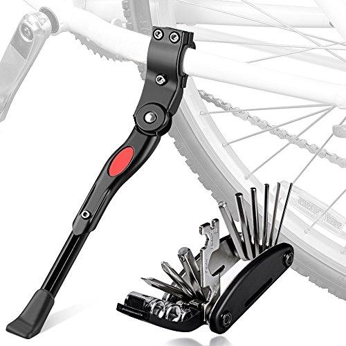 Oziral Fahrradständer mit Multifunktion Tool, Universal Seitenständer Faltbarer Fahrrad Ständer Einstellbarer mit Anti-Rutsch Gummi Fuß Aluminiunlegierung für Mountainbike, Rennrad, Faltrad (Black)