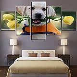 MONDFH 5 Consecutive Paintings Cuadro impreso HD lienzo Retriever perro hogar Decoración pared arte 5 paneles imágenes modulares para sala de Estar póster