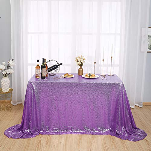 Kirsooku Light Purple Sequin Tablecloth for Rectangle Tables 60 X 120 Table Covers for Birthday Bridal Baby Shower Kitchen Decor Holiday Table Clothes Engagement Party Decor Table Skirt Lavender