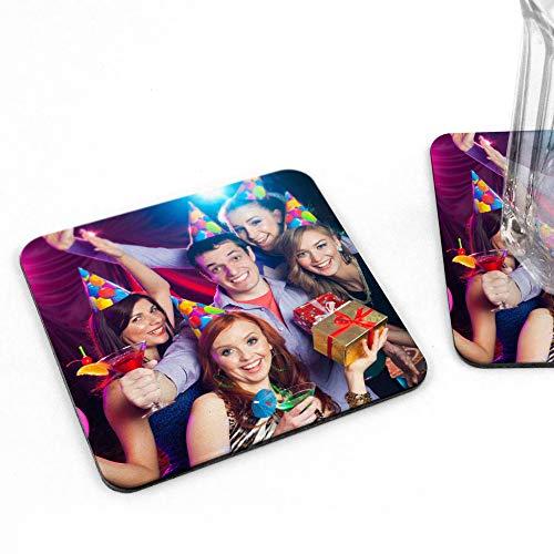 LolaPix Posavasos Foto. Regalos Originales. Posavasos de Corcho con Foto. Regalos Personalizados. Modelo Cuadrado Pack 3