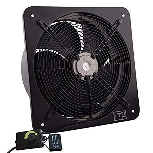 Commercial Extractor Industrial Ventilation Axial Exhaust Blower Flow Air Plate Fan 22' Inches 200MM Black (Heavy Duty Metal with Speed Control Regulator)