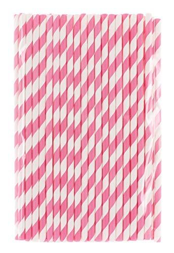 MIK Funshopping Papiert-Trinkhalme Papierstrohhalme für Kinder Geburtstag Hochzeit Babytaufe Party 80 Stück (pink-weiß gestreift)