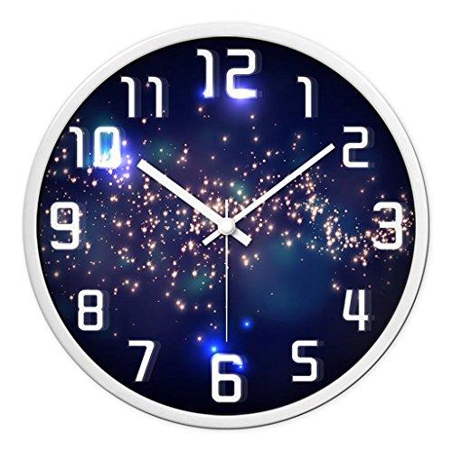 Horloges Rond Murale Métallique et Montres Quartz Balayer Les Secondes Muet Silencieux Convient pour la Chambre et Le Salon Taille 30.5cm (12inch) (Color : Purple-A)