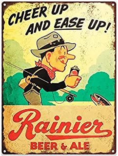 onepicebest Rainier Beer Ale Fishing Mancave Garage Shop Metal Sign Repro 12