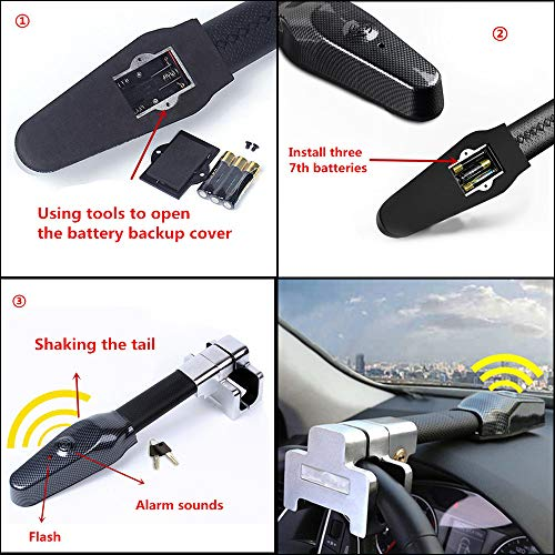 Vechkom Steering Wheel Lock Universal Security Car Anti Theft Safety Alarm Lock Retractable Anti Theft Protection T-Lock