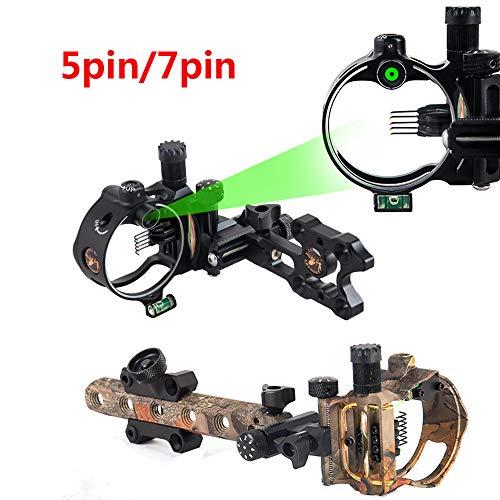 MILAEM Miras para Arcos compuestos Micro Ajustable 5 Aguja 7 Pin Visor 0.019 Fibra óptica Vista para Tiro con Arco