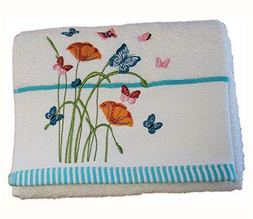 HOMESCAPES Toalla de Manos de algodón Egipcio con Mariposas y Flores Bordadas ✅