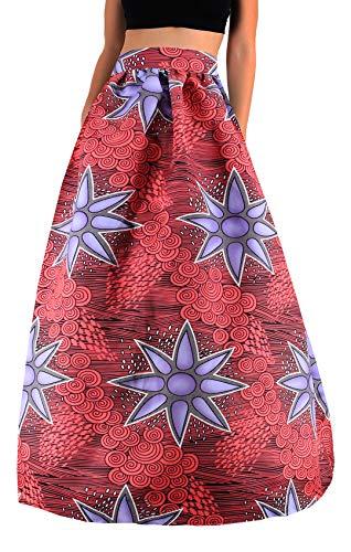 Novia's Choice Falda Maxi Plisada de Cintura Alta con Estampado Floral Africano para Mujer, Falda Casual de línea A (púrpura geométrico) - - Medium