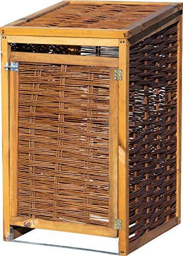 dobar Wetterfeste Box aus Holz, aufklappbares Mülltonnen-Versteck für 120l Tonnen, ungeschälte Weide, braun, 60 x 80 x 115cm Mülltonnenbox