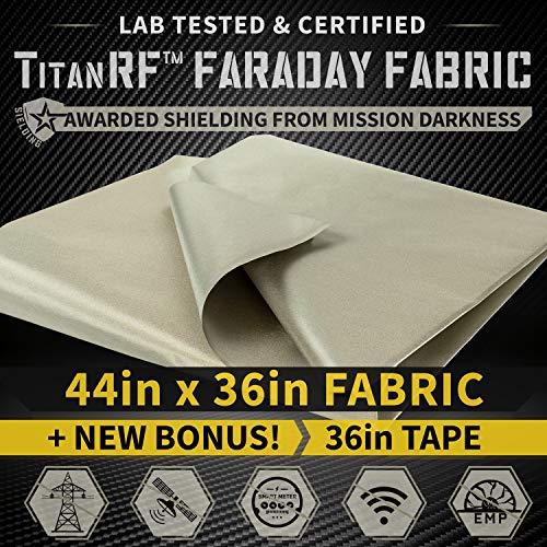 "Preisvergleich Produktbild NEW! TitanRF Faraday Fabric 44"" x 36"" (.91m x 1.1m) + Extra 36"" TitanRF Tape! Military Grade Certified Material Blocks RF Signals (WiFi,  Cell,  Bluetooth,  RFID,  EMF Radiation Shielding)"