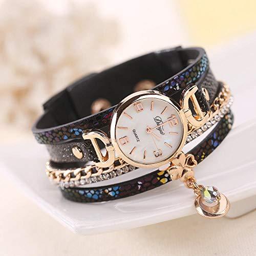Powzz ornament Armbanduhren Damen Wickelarmbanduhr Wunschquarzuhr @Blue