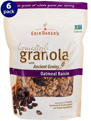 Erin Baker's Homestyle Granola, Oatmeal Raisin, Gluten-Free, Ancient Grains, Vegan, Non-GMO, Cereal, 12-ounce bags (Pack of 6)