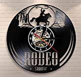 WJBKY Freedom Rider Rodeo Guy Reloj De Pared De Pared Wild Rodeo Life Cowboy Vinyl Record Reloj De Pared Vintage Western Equestrian Riding Clock