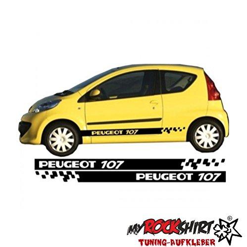 myrockshirt Peugeot 107 Seitenstreifen Aufkleber Seite Viper Streifen Aufkleber Tuning Scheibe Lack TYP-MRS66 `+ Bonus Testaufkleber