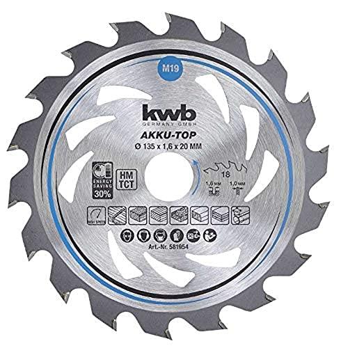 kwb 581954 - Hoja de sierra circular (Easy Cut, diámetro de 135 x 20 mm, corte fino, 18 dientes, Z18)