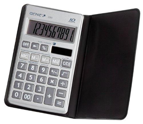 Genie 330 10-stelliger flacher Taschenrechner (mit Dual-Power (Solar und Batterie), Inkl. Schutzetui) silber