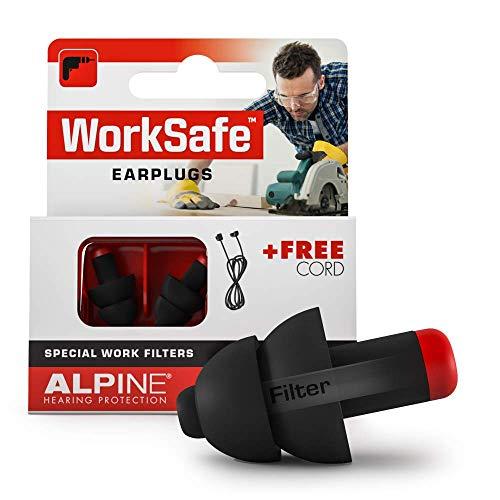 Alpine WorkSafe Tapones Protección auditiva para los DIY y el Trabajo - Tapones de Trabajo - Cordón de Seguridad Gratuito - Cómodo Material hipoalergénico - Tapones Reutilizables