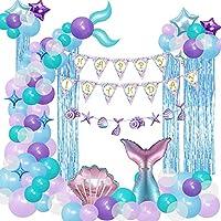 CANPA 誕生日 バルーン 風船 人魚 マーメイド アルミバルーン 飾り付け 女の子 パーティー 飾り付け 誕生日 お祝い 結婚式 パーティー風船 パーティー 飾り 風船セット ゴム風船 パーティー お誕生日会 パーティー 記念日