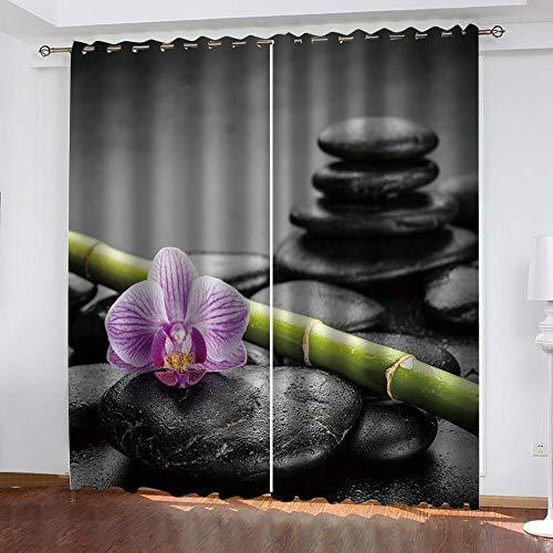 Abeeaceo® Cortinas Opacas 3D Meditación Zen con Flores De Bambú Verde,Cortina Opaca para Ventana Dormitorio Juvenil para Habitacion Matrimonio Estilo Moderno Elegante 150 (Ancho) X166 (Alto) Cm -Cor