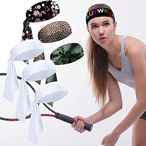 Waydress 6 Pieces Sublimation Tie Headband Heat Transfer Head Tie Elastic Sweatbands Bandana Hair Wrap DIY Accessories for Women Girls Men Teens
