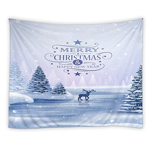 Tapiz de Navidad Bolas Curlicue Estrellas Ramas de pino que cuelgan en la pared de madera rústica, Decoración de poliéster de vacaciones de invierno para sala de estar Dormitorio Dormitorio, Marfil Ve