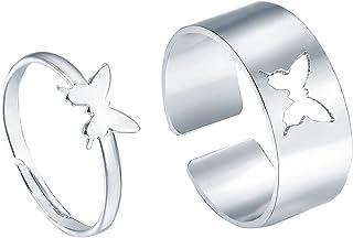 مجموعة خاتم فراشة للنساء والرجال زوجين خاتم فتح قابل للتعديل 2 قطعة فراشة خاتم مجوهرات