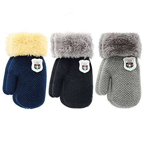 ORVINNER 3 Pairs Toddler Gloves Baby Boys Girls Winter Warm Sherpa Lined Knit Gloves Kids Mittens Black/Grey/Navy Pack