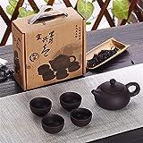 Juego de té Conjunto de tetera de Kung Fu Chiness Kung Fu de arena púrpura con 4cup y 1 olla adecuada para el conjunto de té de oficina en el hogar cups ( Color : Black , Kit Type : Five-piece Set )