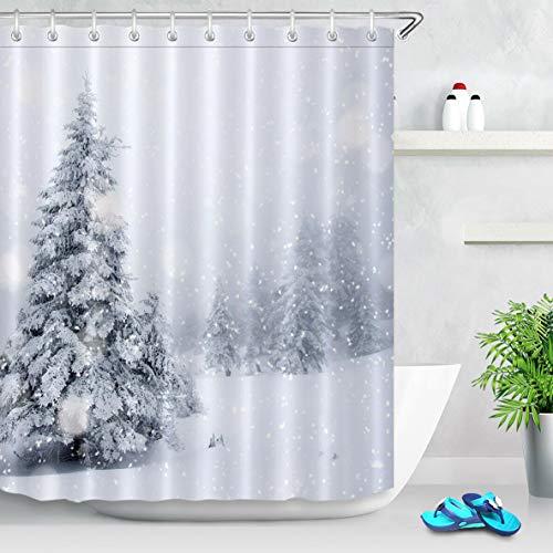 Punk family Winter Forest Snowflake Pine Tree Fabric Colgante de baño a Prueba de Moho Creativo con 12 Ganchos 180X180CM