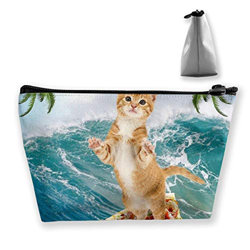 Cat Surfing on pizza ocean palm tree Cosmetic Bag for Women Multifuncition Travel Makeup Bags for Toiletries Accessories Organizer with Zipper