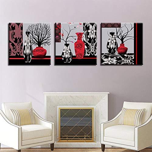 WSNDGWS Triple HD vaas creatieve abstracte bloemen decoratieve schilderij zonder fotolijst 50x50cmx3 A4