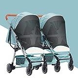 WU ZHI Geschwister - Zwillings - Kinderwagen, für Babys und Kleinkinder, Nebeneinander, ab Geburt Nutzbar, Schnell Faltbar Green
