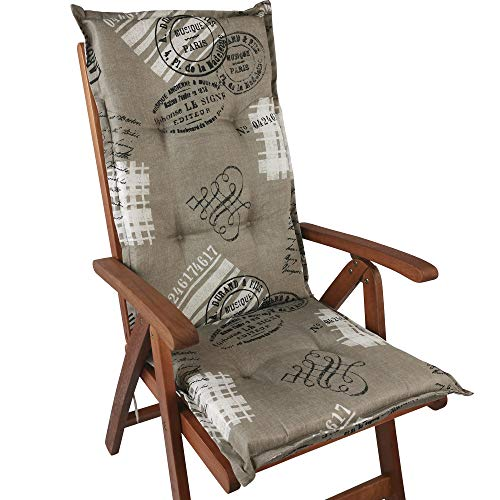 DILUMA Hochlehner Auflage Naxos für Gartenstühle 118x49 cm Miami Taupe - 6 cm Starke Stuhlauflage mit Komfortschaumkern und Bezug aus Baumwoll-Mischgewebe - Made in EU mit ÖkoTex100