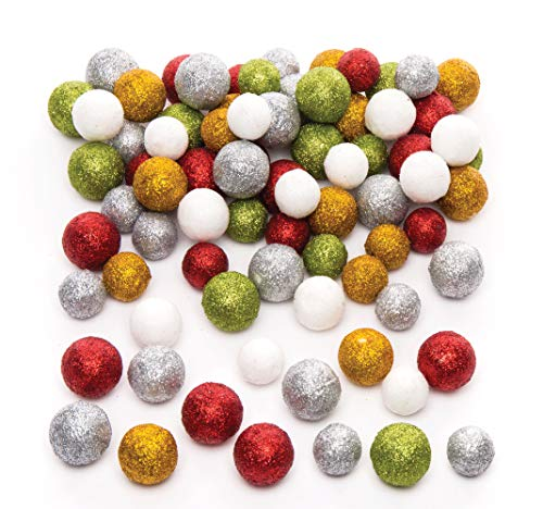 Palline Glitterate di Polistirolo Baker Ross (confezione da 60gr)- Creativi articoli natalizi e artigianali per bambini da realizzare e decorare.
