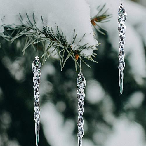 Naler Glaçon de Noël, 24 pièces Suspensions et Pointes de Noël, Décoration de Sapins de Noël, Objet à Suspendre Glace Acrylique
