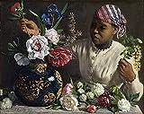 Cuadro por número para adultos y kit de pintura infantil principiantes lienzo preimpreso sin marco-Jean Frédéric Bazille Cuadro famoso Mujer negra con peonías
