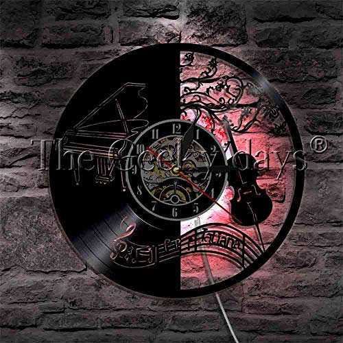 JXCDNB Piano and Cello Classical Instruments Vinyl Record Wall Clock with LED Backlit Treble Clef Notes Modern Music Lamp 12 Inch