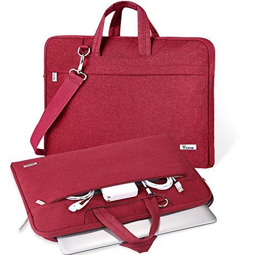 V Voova Laptoptasche mit Schultergurt, schmal, kompatibel mit MacBook Pro 16, HP 15.6, Dell Inspiron 15 3000, Acer Chromebook 14, 2021, Asus Rog, Rot